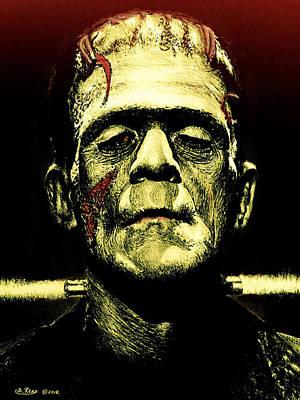 Universal Monsters Painting - Frankenstein Monster Green Edit by Andrew Read