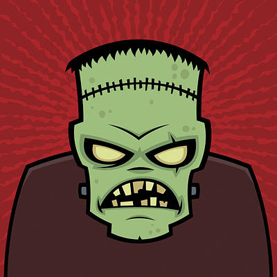 Halloween Drawing - Frankenstein Monster by John Schwegel