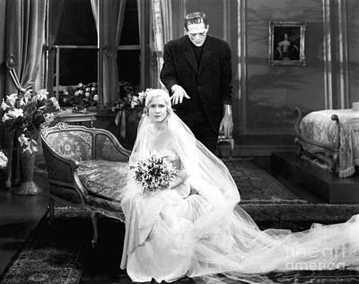 Photograph - Frankenstein Monster Sneaks Up On Bride 1931 Movie by R Muirhead Art