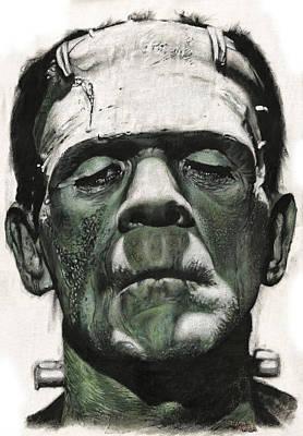 Abomination Painting - Frankenstein Portrait by Daniel Ayala