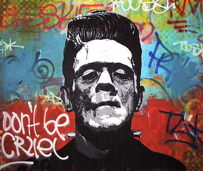 Spray Mixed Media - Frankenstein Rebel by Mike Patino