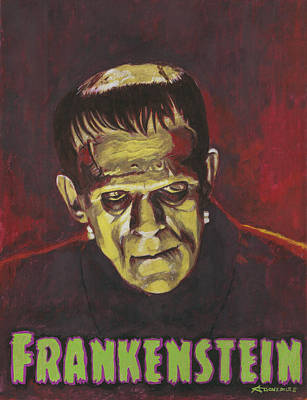 Halloween Painting - Frankenstein 1931 Boris Karloff In Color With Text Logo by Aljohn Gonzales