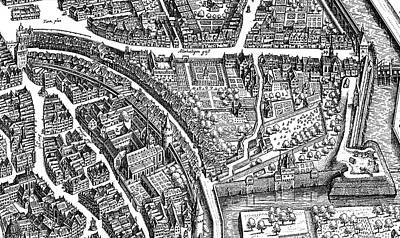 Eyes Detail Drawing - Frankfurt Am Main, 1628 by Matthaus Merian the Elder