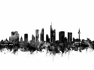 Digital Art - Frankfurt City Skyline Black And White by Bekim Art