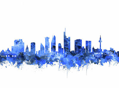 Digital Art - Frankfurt City Skyline Blue by Bekim Art