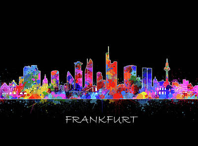 Digital Art - Frankfurt City Skyline Color by Bekim Art