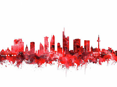Digital Art - Frankfurt City Skyline Red by Bekim Art