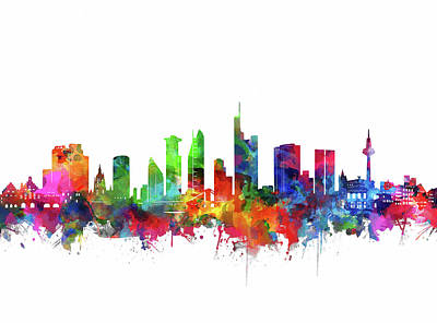 Abstract Skyline Royalty-Free and Rights-Managed Images - Frankfurt City Skyline Watercolor 2 by Bekim M