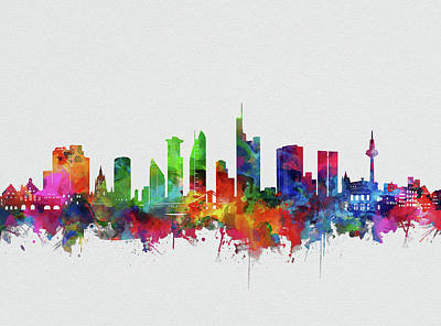 Abstract Skyline Royalty-Free and Rights-Managed Images - Frankfurt City Skyline Watercolor by Bekim M
