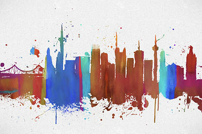 Painting - Frankfurt Colorful Skyline by Dan Sproul