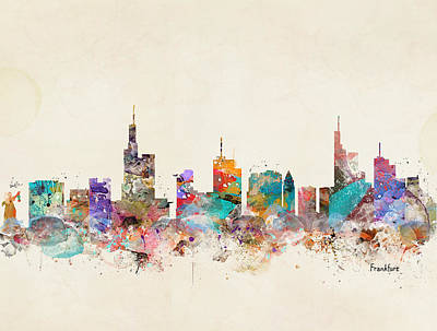 Painting - Frankfurt Germany Skyline by Bleu Bri