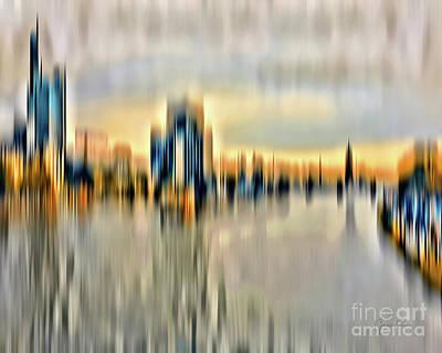 Digital Art - Frankfurt - Golden Sunset Abstract by Gabriele Pomykaj