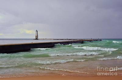 Photograph - Frankfurt Lighthouse Breakwater by Terri Gostola