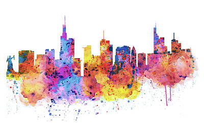 Modern Digital Art Digital Art Mixed Media - Frankfurt Skyline by Marian Voicu