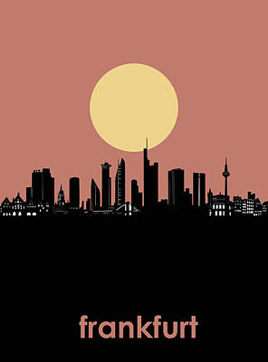 Digital Art - Frankfurt Skyline Minimalism by Bekim Art