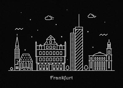 Abstract Landscape Drawing - Frankfurt Skyline Travel Poster by Inspirowl Design