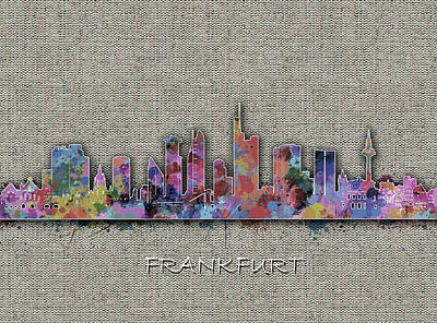 Digital Art - Frankfurt Skyline Vintage by Bekim Art