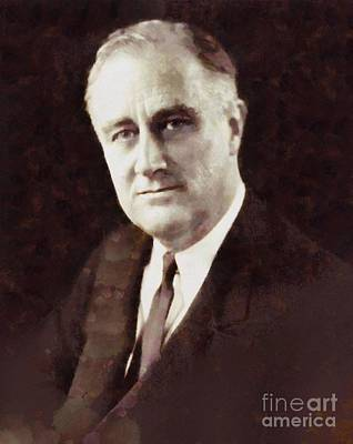 Franklin Roosevelt Painting - Franklin Delano Roosevelt, President United States By Sarah Kirk by Sarah Kirk
