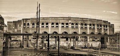 Philadelphia Phillies Stadium Photograph - Franklin Field In Sepia by Bill Cannon