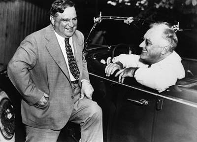 Photograph - Franklin Roosevelt And Fiorello Laguardia In Hyde Park - 1938 by War Is Hell Store