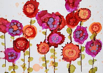Ink Painting - Frantic Flowers by Beth Kluth