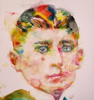 Painting - Franz Kafka - Watercolor Portrait.12 by Fabrizio Cassetta