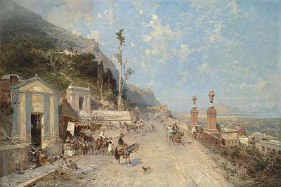 Franz Richard Unterberger , Strada Monreale, Palermo, 1893 Art Print