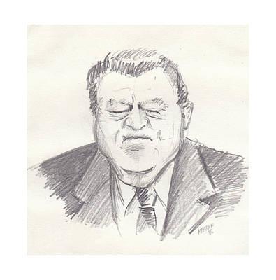 Politicians Drawings - Franz Strauss by John Keaton