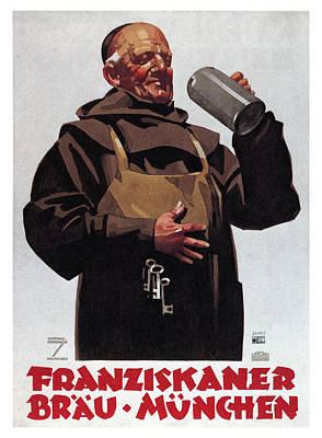 Mixed Media - Franziskaner Brau - Munchen, Germany - Vintage Beer Advertising Poster by Studio Grafiikka