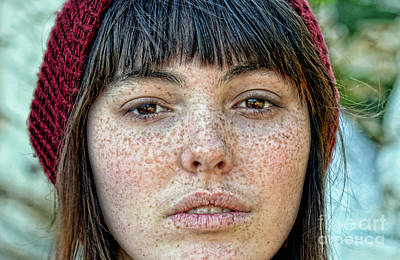 Photograph - Freckle Face Closeup  Color Version by Jim Fitzpatrick