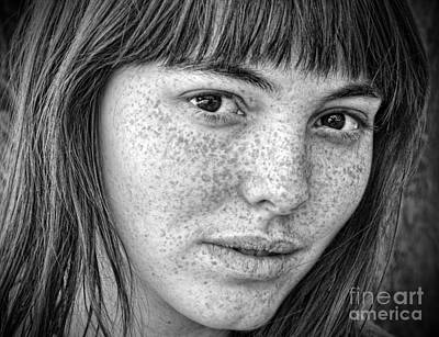 Photograph - Freckle Face Closeup IIi Black And White Version by Jim Fitzpatrick