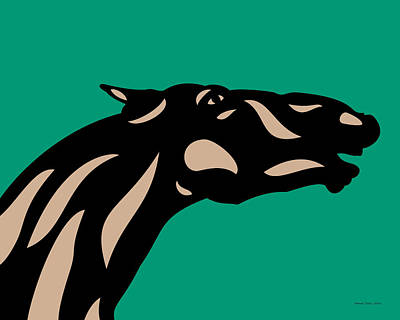 Black Horse Digital Art - Fred - Pop Art Horse - Black, Hazelnut, Emerald by Manuel Sueess