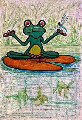 Mixed Media - Fred The Frog With Friends by Renee Marie Martinez