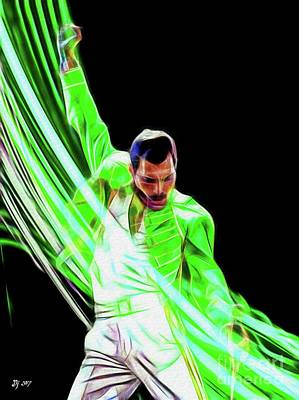 Mixed Media - Freddie In Green by Daniel Janda