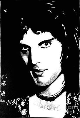 Drawing - Freddie Mercury by Bonnie Cushman