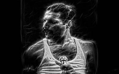 Photograph - Freddie Mercury - Charcoal by Doc Braham