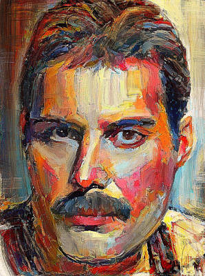 Digital Art - Freddie Mercury Colorful Portrait by Yury Malkov