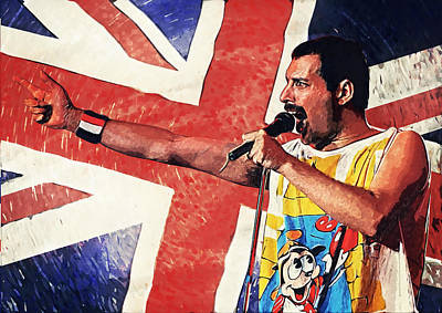 Pink Floyd Digital Art - Freddie Mercury by Taylan Apukovska