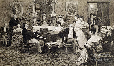 Listening Drawing - Frederic Chopin Playing In The Salon Of The Musician And Composer Prince Anthony Radziwill by Hendrik Siemiradzki