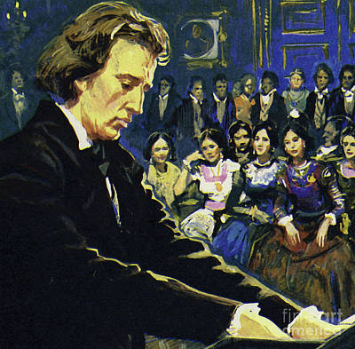 People Watching Painting - Frederic Chopin   The Tragic Genius by English School