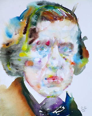 Painting - Frederic Chopin - Watercolor Portrait by Fabrizio Cassetta