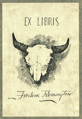 Photograph - Frederic Remington Cow Skull Bookplate by John Stephens