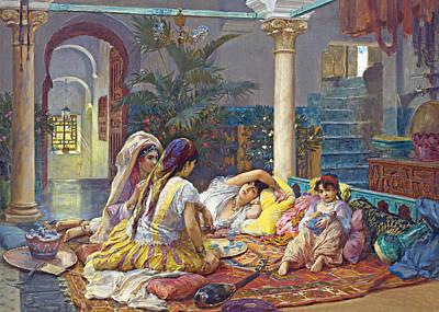 Frederick Arthur Bridgman Harem Art Print by Munir Alawi