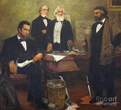 Frederick Douglass Appealing To President Lincoln And His Cabinet To Enlist African Americans Art Print