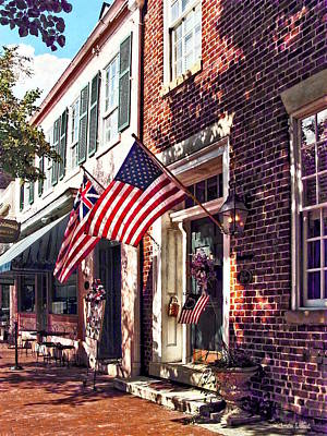 Photograph - Fredericksburg Va - Street With American Flags by Susan Savad