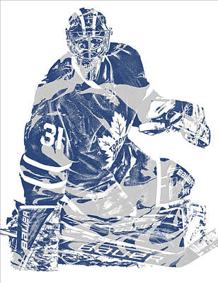 Maple Leaf Art Mixed Media - Frederik Andersen Toronto Maple Leafs Pixel Art 1 by Joe Hamilton