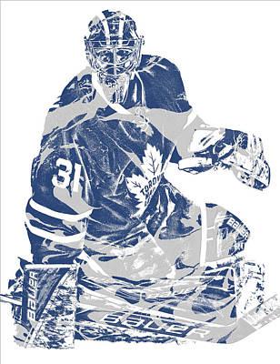 Maple Leaf Art Mixed Media - Frederik Andersen Toronto Maple Leafs Pixel Art 1 by Joe Hamilton