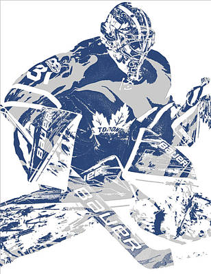 Maple Leaf Art Mixed Media - Frederik Andersen Toronto Maple Leafs Pixel Art 2 by Joe Hamilton