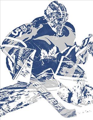 Maple Leaf Art Mixed Media - Frederik Andersen Toronto Maple Leafs Pixel Art 2 by Joe Hamilton