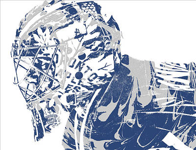 Maple Leaf Art Mixed Media - Frederik Andersen Toronto Maple Leafs Pixel Art 3 by Joe Hamilton